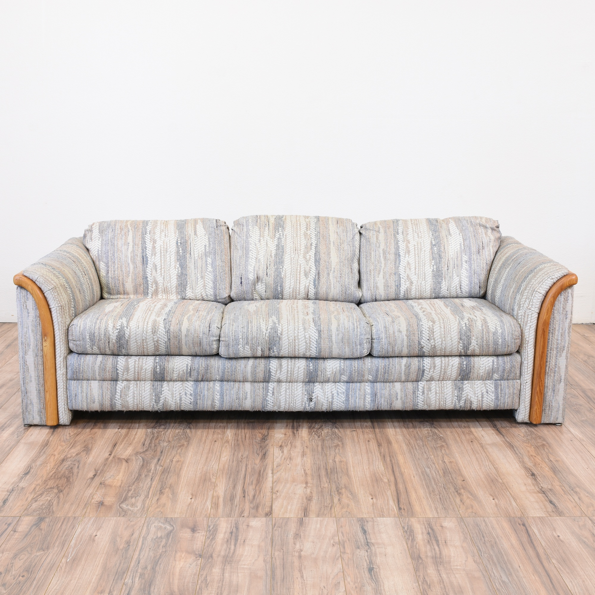 Retro Sofa Wood Retro Abstract Print Sofa In Gray Blue Loveseat Vintage Furniture
