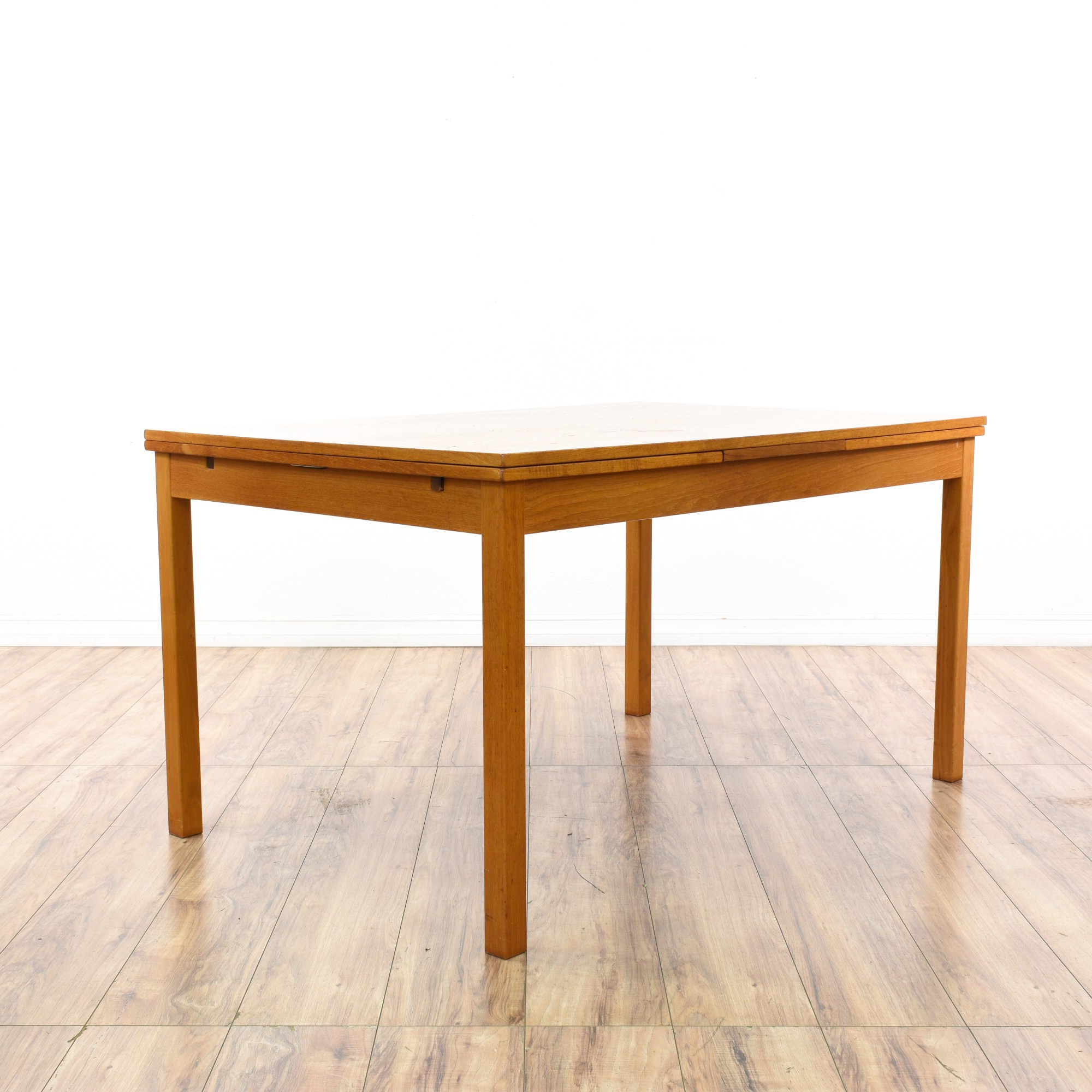 Table With Slide Out Leaves Danish Modern Teak Dining Table W Pull Out Leaves