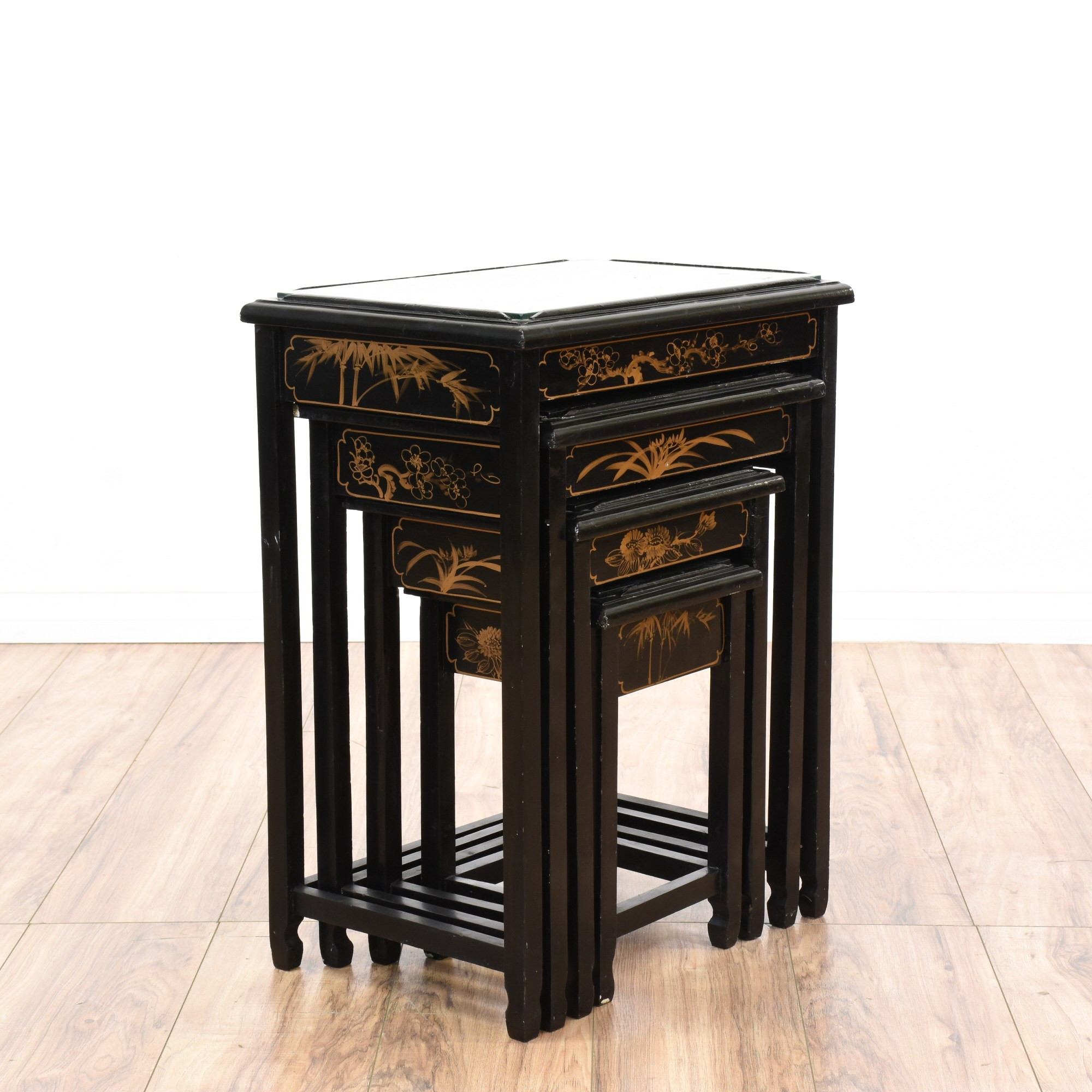 Asian Nesting Tables Set Of 4 Asian Chinoiserie Nesting Tables Loveseat
