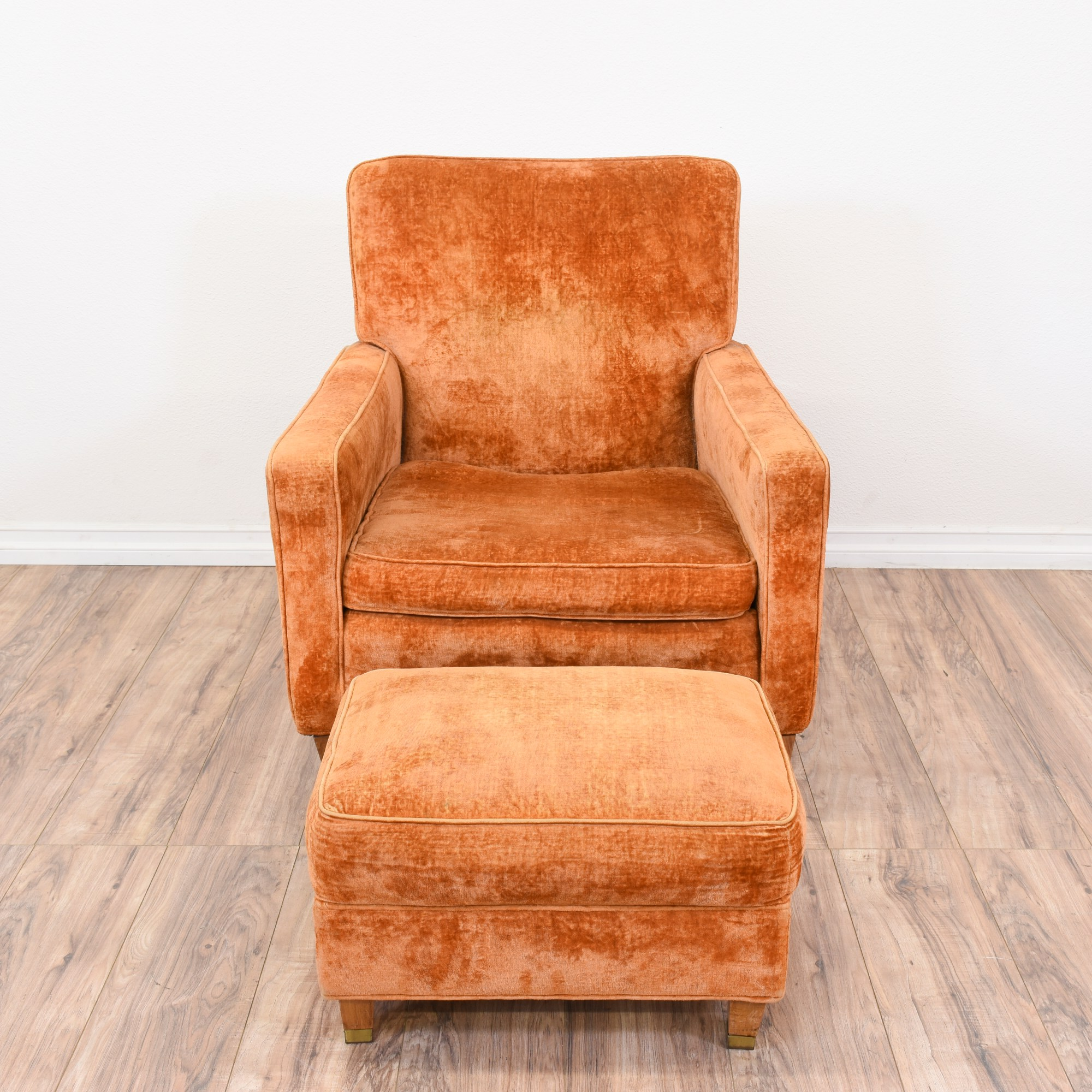 Orange Mid Century Modern Chair Orange Velvet Mid Century Modern Chair And Ottoman