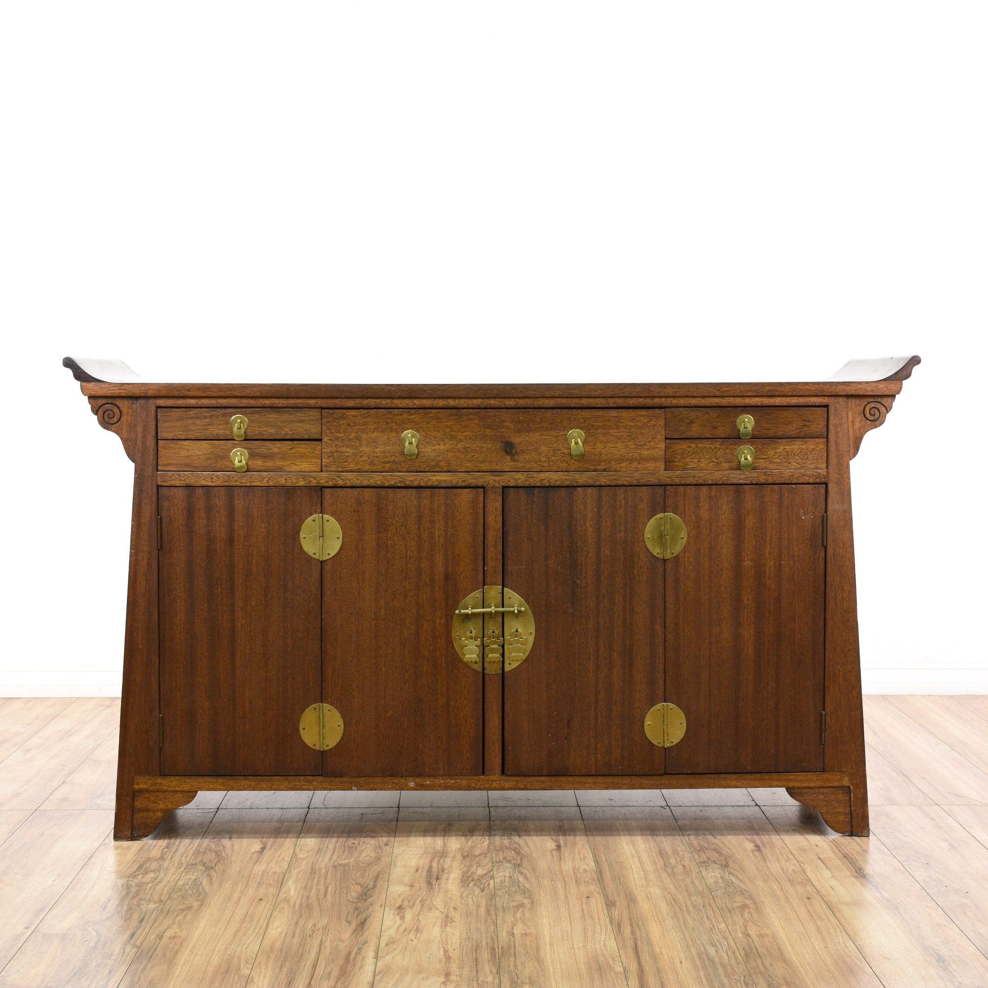 Asia Sideboard Long Asian Carved Console Cabinet Buffet Loveseat