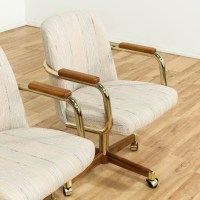 Set Of 4 Barrel Back Chairs On Brass Casters | Loveseat ...