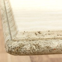 Rectangular Cream Colored Stone Coffee Table | Loveseat ...