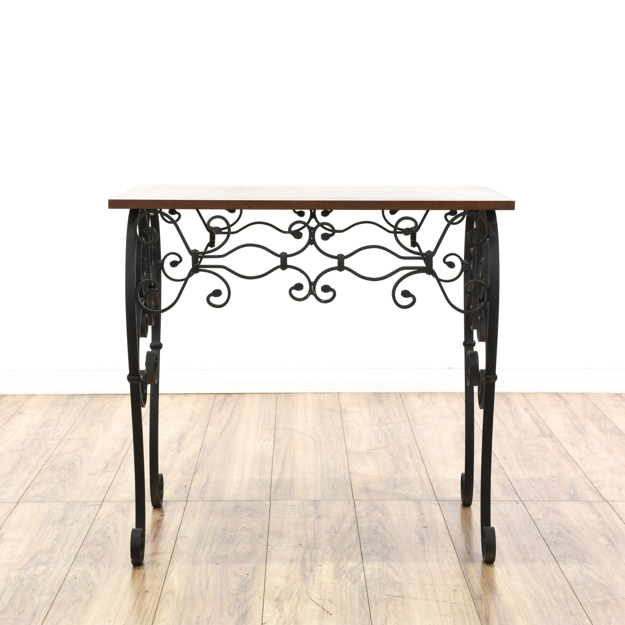 Wrought Iron And Wood End Tables Scrolled Wrought Iron Wood Top Side Table Loveseat