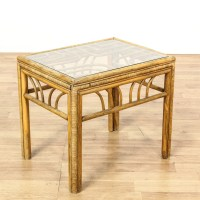 Tropical Rattan Glass Top End Table | Loveseat Vintage ...
