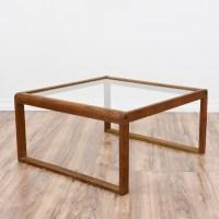 Mid Century Modern Oak Glass Top Coffee Table   Loveseat ...