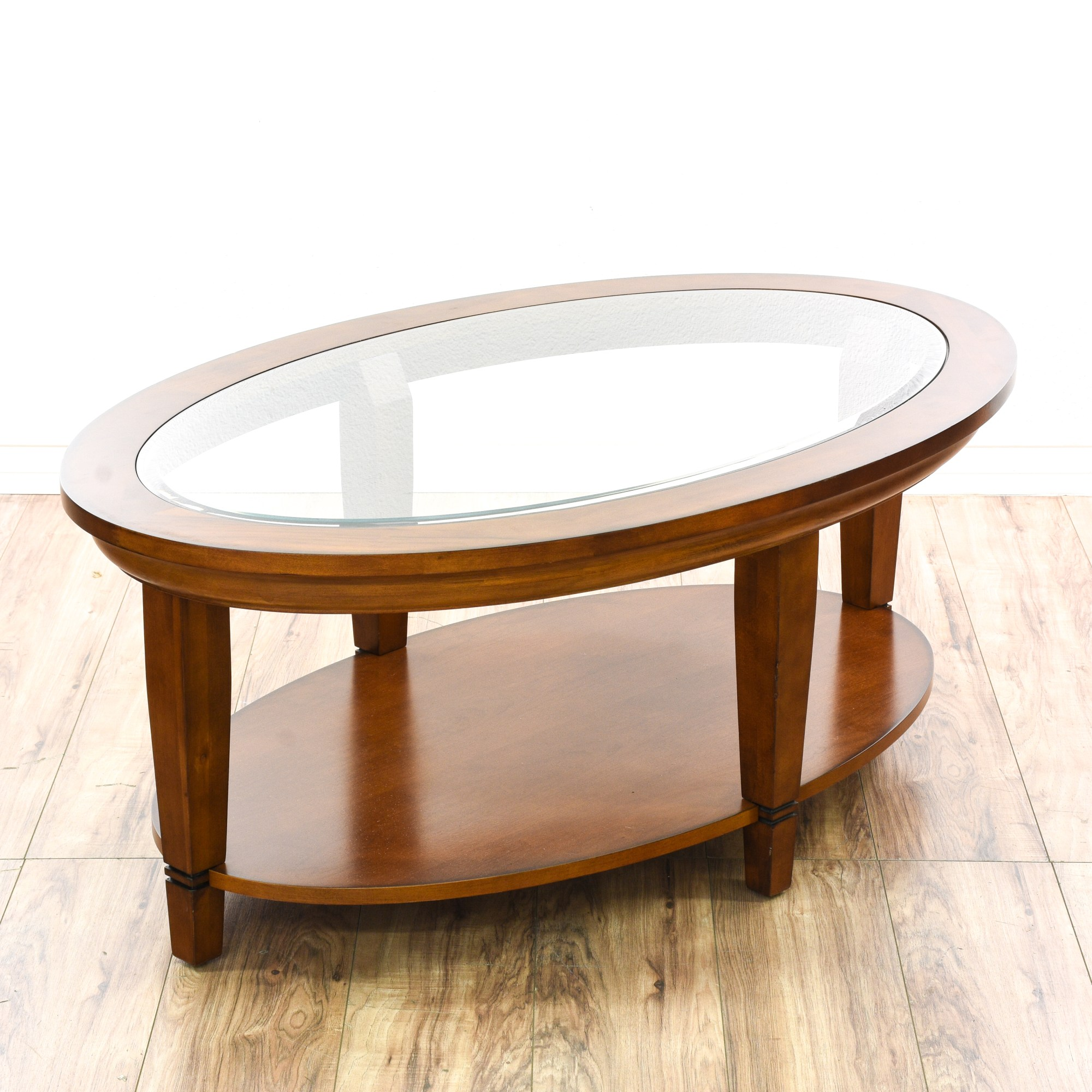 Couchtisch Oval Glas Contemporary Tiered Oval Glass Top Coffee Table | Loveseat