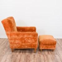 Orange Velvet Mid Century Modern Chair & Ottoman ...