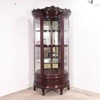 Round Japanese Rosewood Curio Cabinet w/ Mirror | Loveseat ...