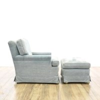 Upholstered Traditional Blue Chair & Ottoman | Loveseat ...