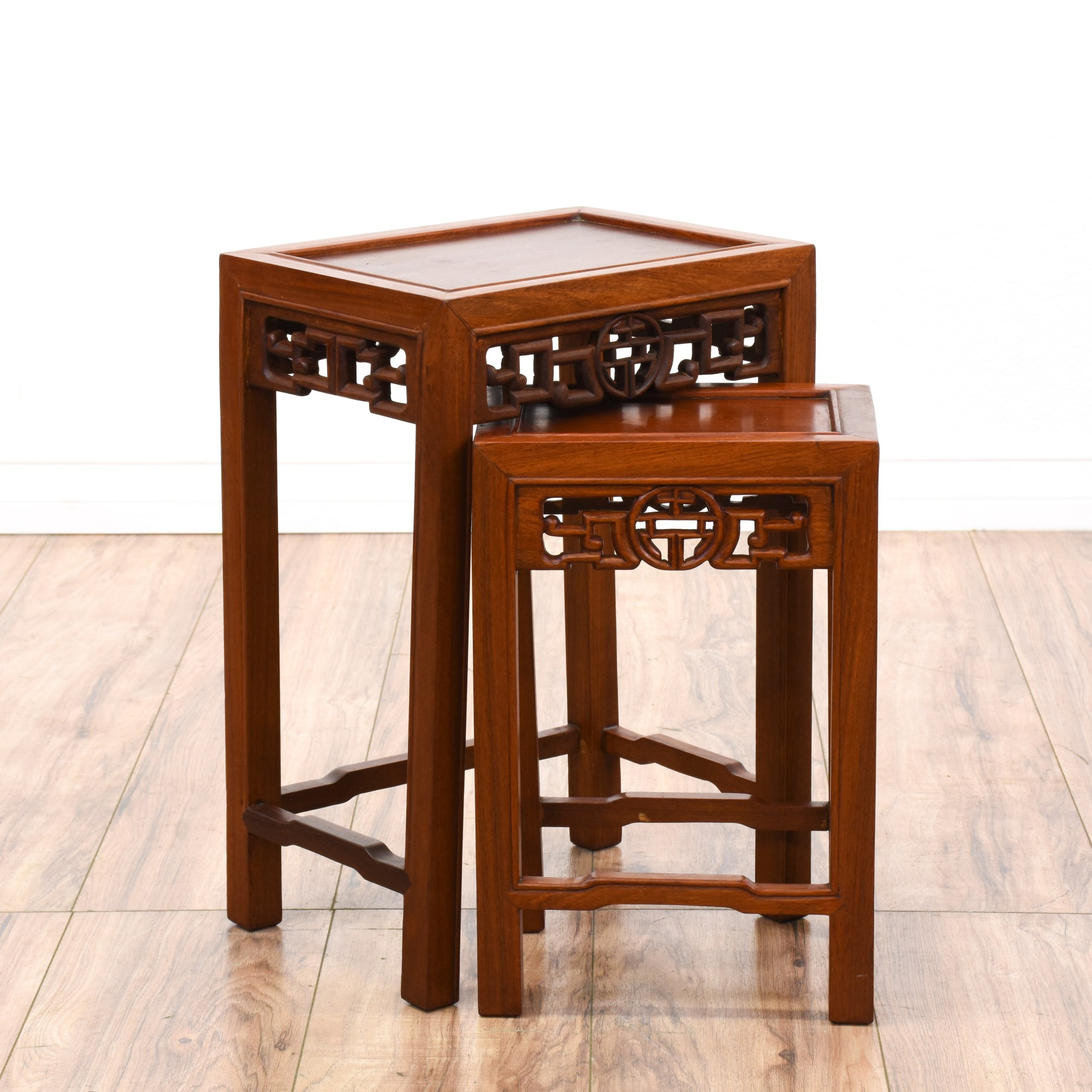 Asian Nesting Tables Pair Of Asian Carved Rosewood Nesting Tables Loveseat