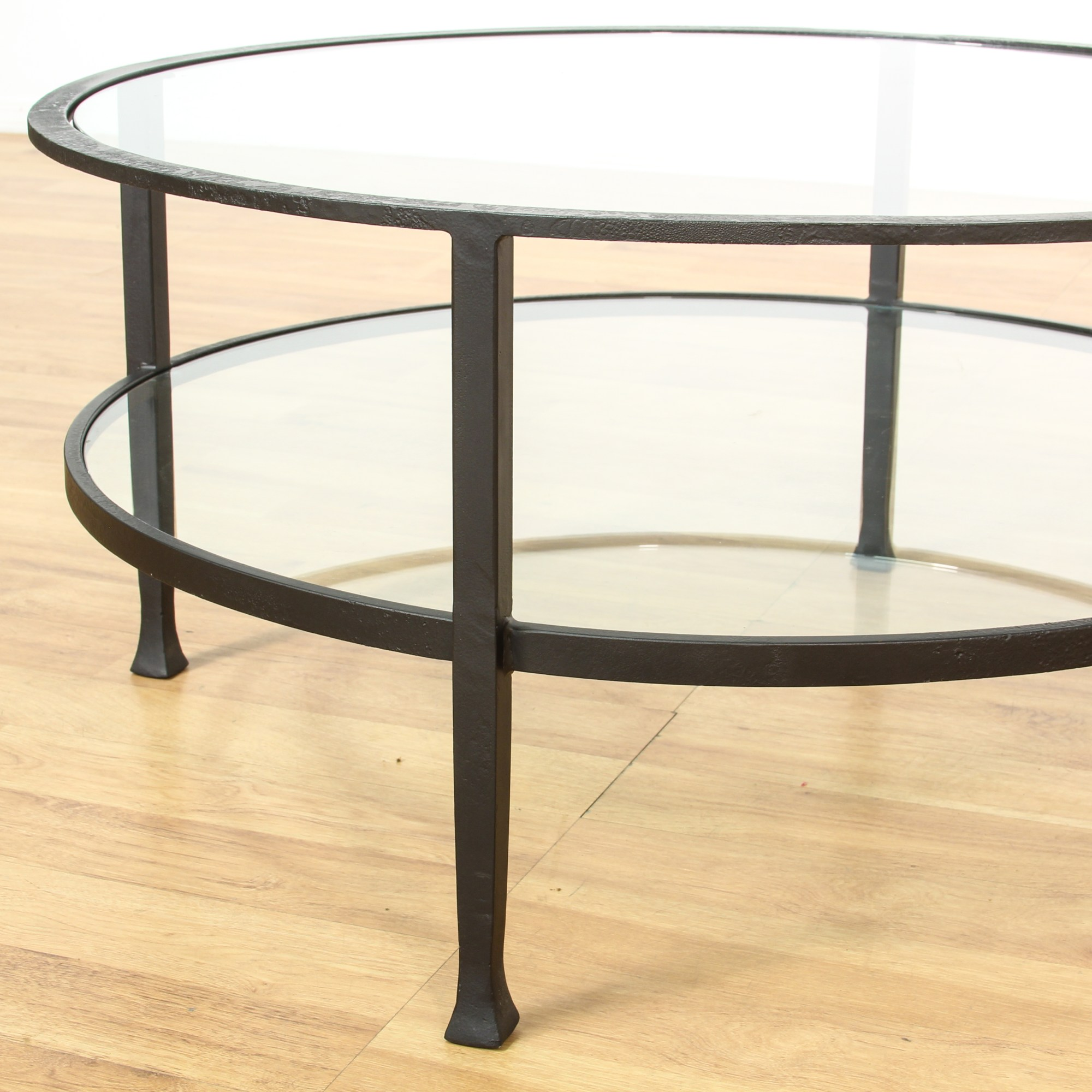 Couchtisch Mit Eisengestell Round 2 Tier Iron Base Glass Coffee Table Loveseat