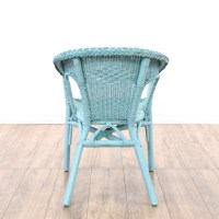 Pair of Blue Shabby Chic Wicker Accent Chairs | Loveseat ...