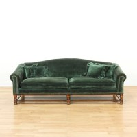 Long Dark Green Velvet Sofa w/ Wood Frame