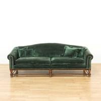 Long Dark Green Velvet Sofa w/ Wood Frame | Loveseat ...