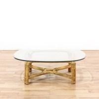 Rattan & Glass Boho Coffee Table | Loveseat Vintage ...