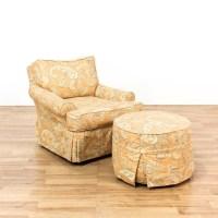 Orange Paisley Chair & Ottoman | Loveseat Vintage ...