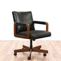 Mid Century Modern Black Vinyl Office Swivel Chair ...