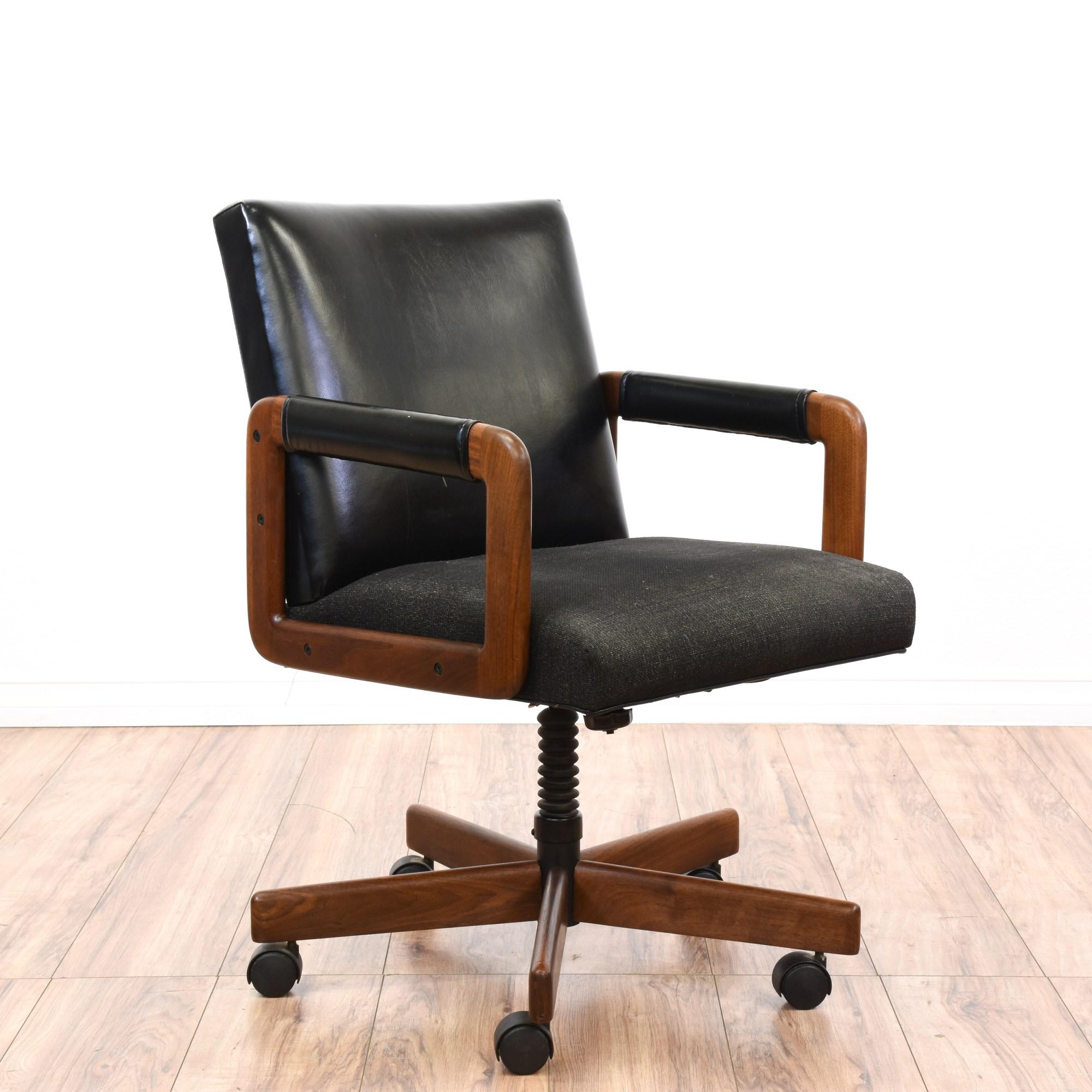 Mid Century Modern Black Vinyl Office Swivel Chair