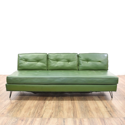 Retro Orange Vinyl Sofa Mid Century Modern Green Vinyl Sofa | Loveseat Vintage