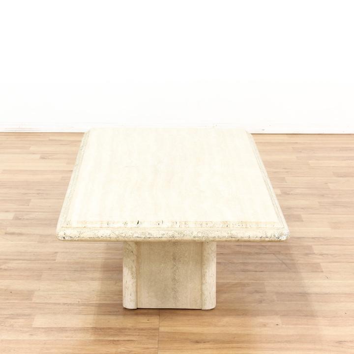 Rectangular Cream Colored Stone Coffee Table