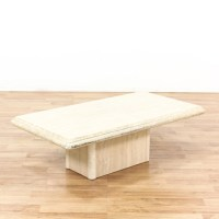 Rectangular Cream Colored Stone Coffee Table | Loveseat ...