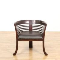 Large Barrel Back Dark Wood Chair | Loveseat Vintage ...