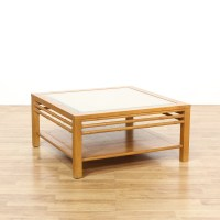 Light Wood Faux Bamboo Glass Top Coffee Table | Loveseat ...
