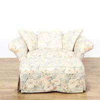 Shabby Chic Floral Chair and Ottoman | Loveseat Vintage ...