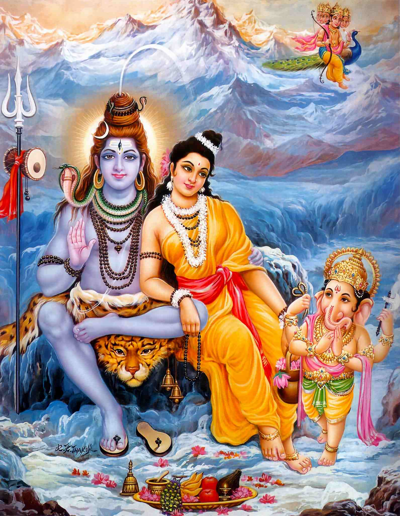 Lord Ganesha Animated Wallpapers Shiva Parvati With Sons Ganesha Findmessages Com