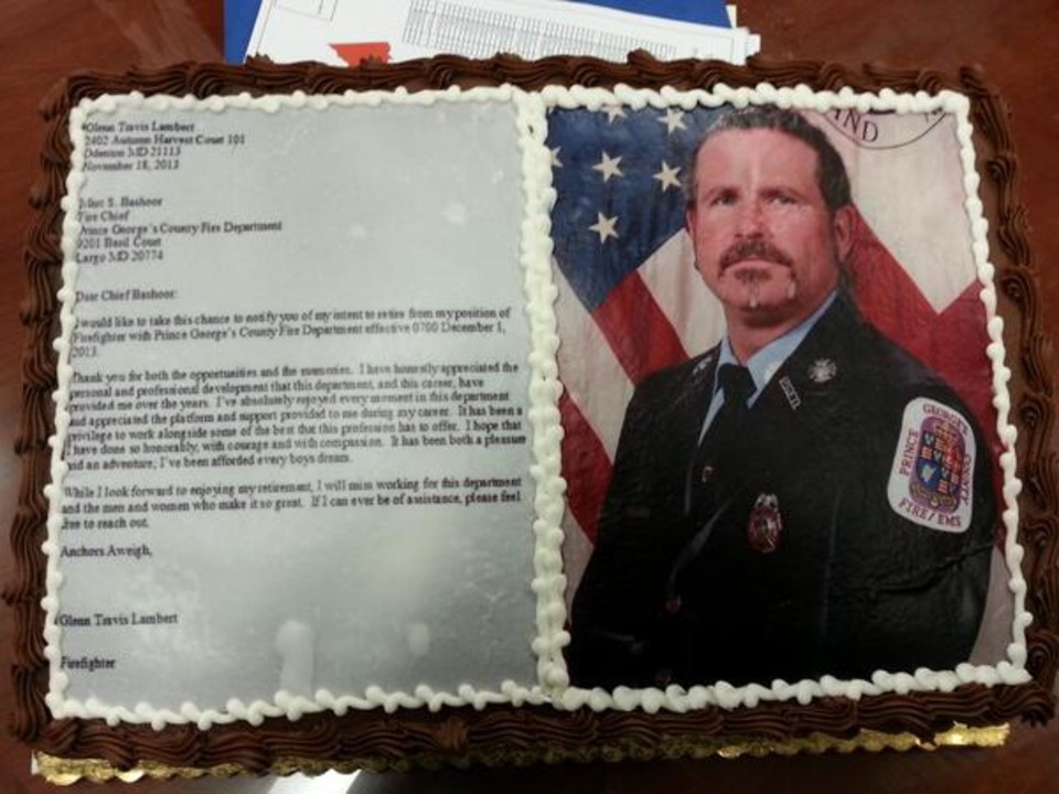 Md Fire Chief Gets \u0027Cake of Resignation\u0027 - resignation letter cake
