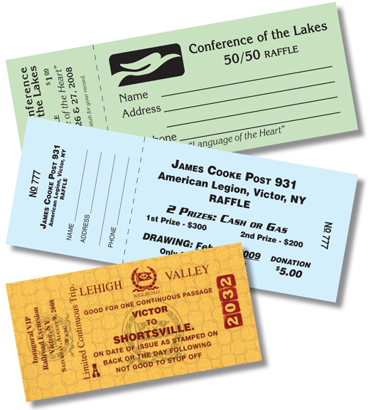 Printing  Copying, digital full color printing, color copies, black - raffle ticket prizes