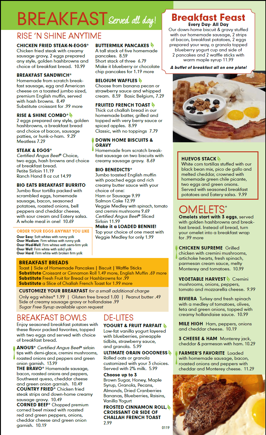 Breakfast All Day The Eatery Our Menu Breakfast All Day Every Day