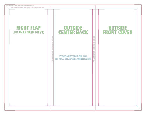 Templates for accurate printing - tri fold table tent