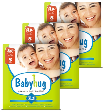 Baby Hug – 7 in 1 Premium Baby Diapers Small, upto 8 Kgs, 30 pieces for Rs. 670