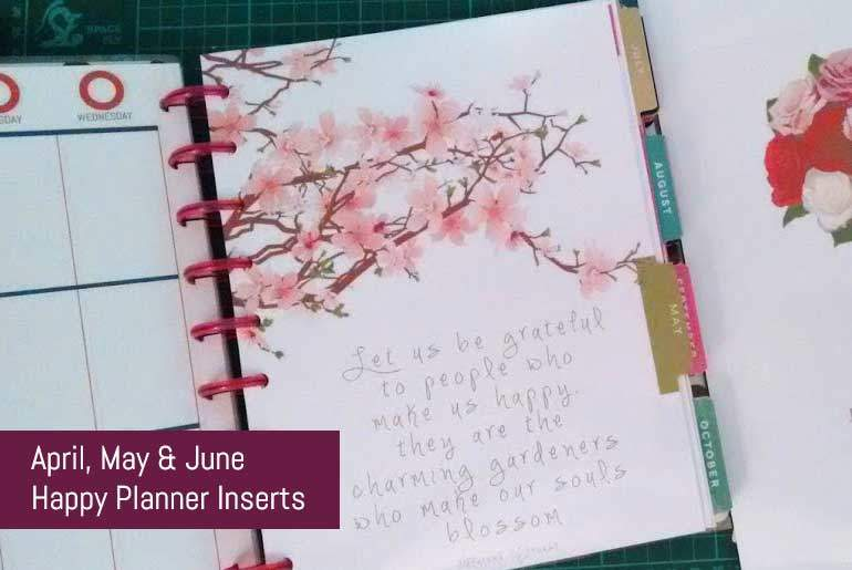 Free Download April, May, June Happy Planner Dividers  Inserts