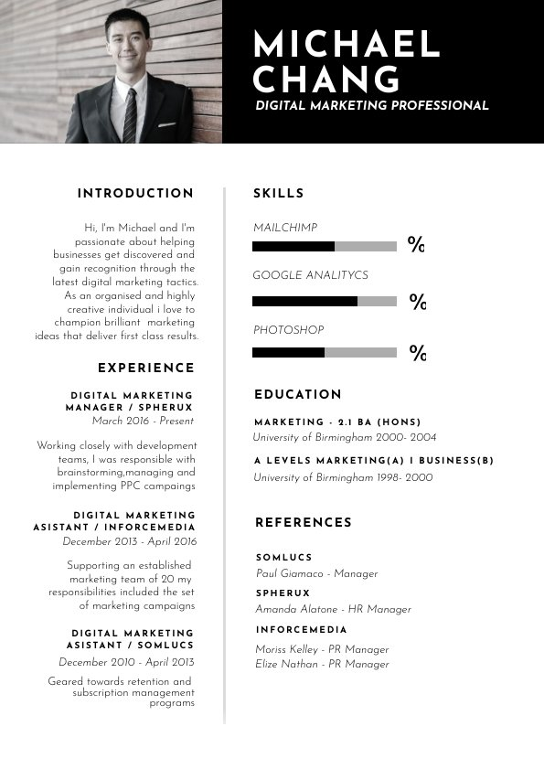resume and picture