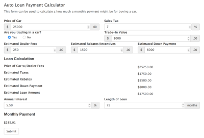 Car Payment Calculator Form Template - Formidable Forms