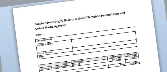 Simple Advertising Insertion Order Template for Microsoft Word - order templates free
