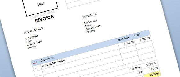 Free Commercial Invoice Template for Word - invoice word