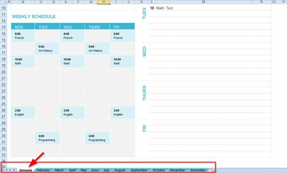 Free Student Planning Template for Excel 2007 \ 2010 - sample power point calendar
