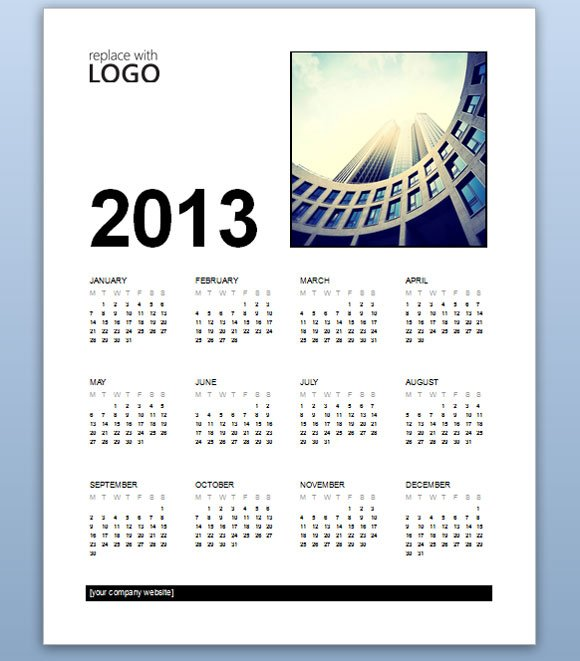 Free Business Calendar 2013 Template for MS Word 2013 - sample power point calendar
