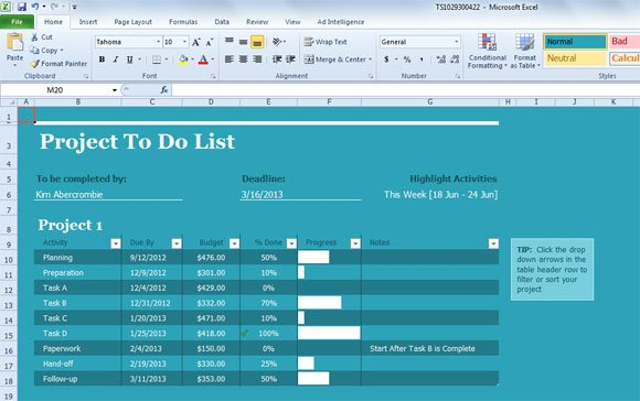 Task List Template for Excel 2013 - project to do list templates
