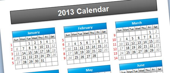 Simple 2013 Calendar PowerPoint Template - powerpoint calendar template