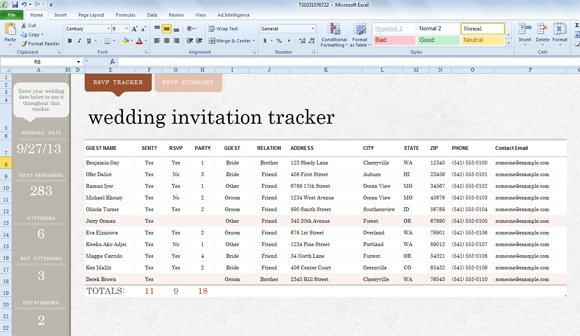 Invite List Template for Excel 2013 - free wedding guest list template
