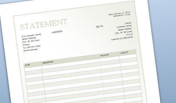 Billing Sheet Template for Word - billing statement template