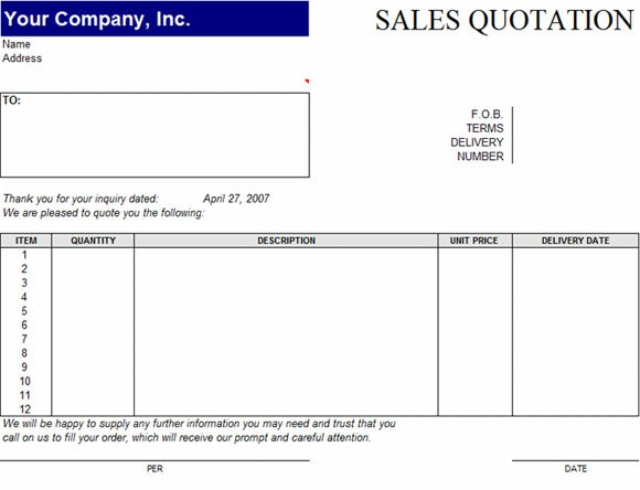 Sales Quotation Template for Word - quotation template