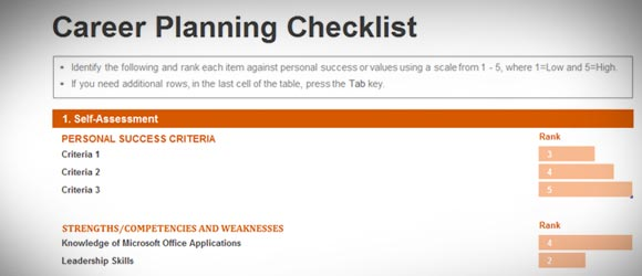 Career Planning Checklist Template for Excel 2013 - career progression plan template