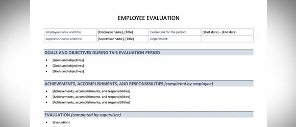Employee Evaluation Template for Word - job performance evaluation form templates
