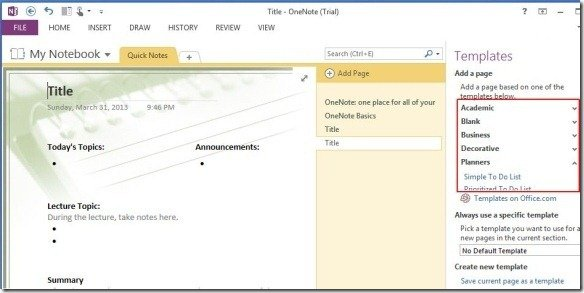templates for onenote 2010
